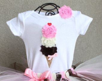 CLASSIC NEAPOLITAN --Birthday Girl Ice Cream Cone Bodysuit or Shirt Only, sizes Newborn-5T