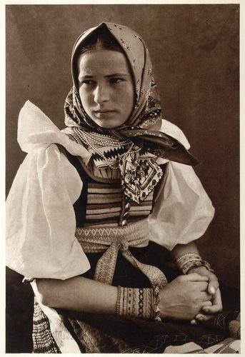 Fenomenal Slovak photographer of slovakian old world...Karol Plicka  1953 Slovakian Girl Kroje Costume Dress Vazec Slovakia