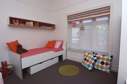 Add a piece of fabric covered foam to a low window ledge to make a great reading nook like we did in this bedroom for two little boys.  http://www.kidsindesignedspaces.com.au/residential/juniorproject1