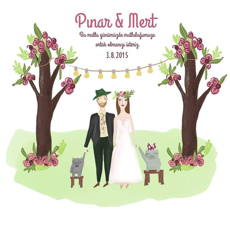 Wedding Card with kittens #wedding #card #invitation #cat #illustration #kına #evlilik #nişan #justmarried #custom #design #weddingcard