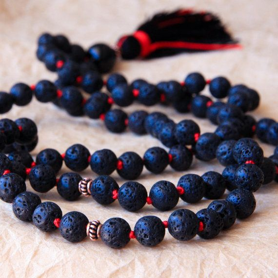 Knotted Prayer Beads, 108 Mala Necklace, Buddhist Beads, Mantra Jewelry, Lava Stone For Positivity & Stress Relief