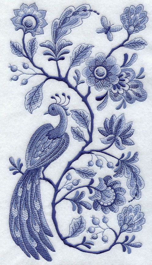 Set of two delft blue peacock and flowers embroidered