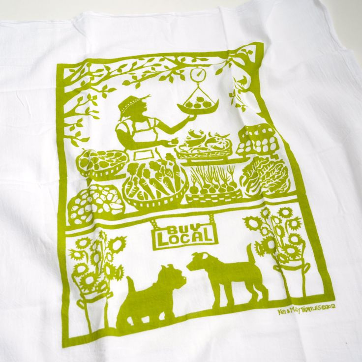 Flour Sack Dish Towel  Growers' Market Green or by keiandmolly, $11.00