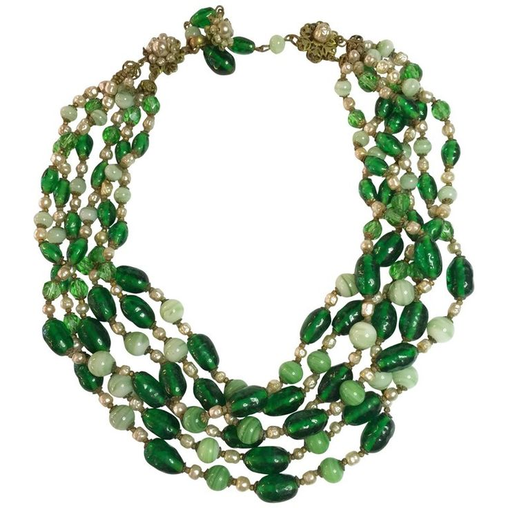 MIRIAM HASKELL Multistrand Faux Emerald Baroque Pearl Necklace | From a unique collection of vintage multi-strand necklaces at https://www.1stdibs.com/jewelry/necklaces/multi-strand-necklaces/