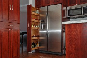 Pull out pantry shelf - Transitional Kitchen in Red transitional kitchen