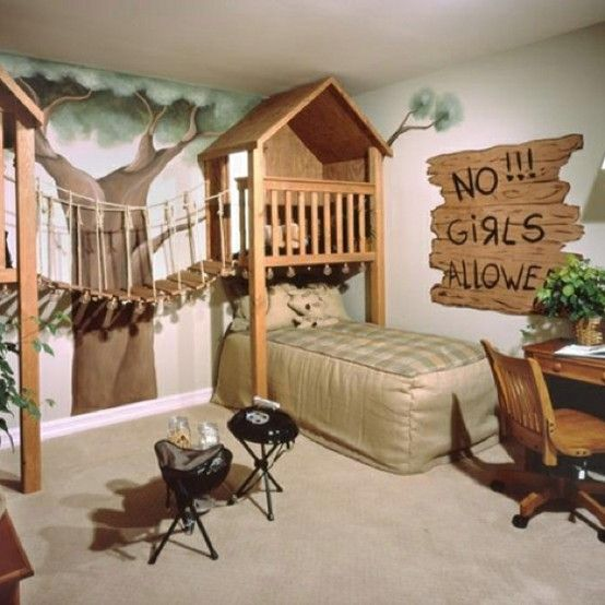 Cj Foxcroft Found This Fun Room On Digsdigs The Bed Hides Under The Treehouse And There S A Little Play Grill For Campouts The No Girls Allowed Sign