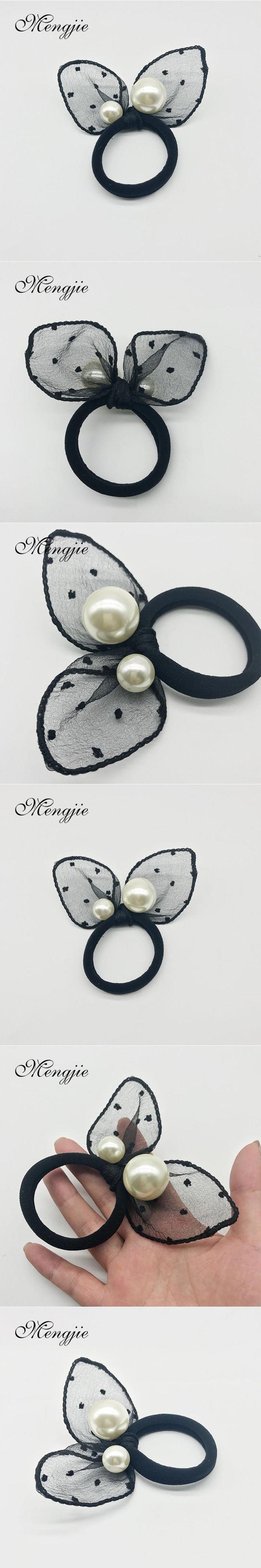 2017 two big imitation pearls girl headbands for women black mesh hairband elastic hair ornaments haar accessoires 8028