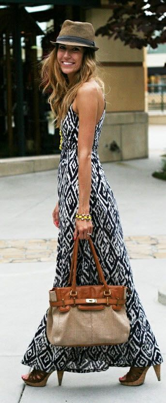 women fashion style clothing outfit maxi dress handbag hat brown summer golden bracelet heels beautiful