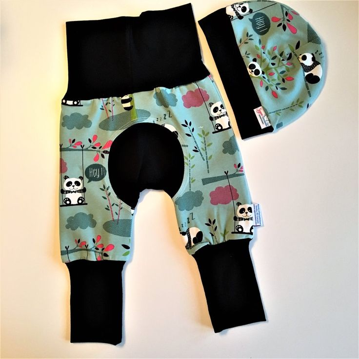 Baby Gift Set with Grow Along Pants and Matching Hat Green Panda on Swing