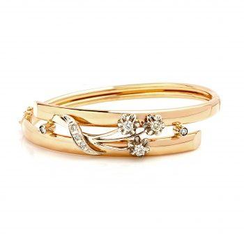 Браслет с цветами из золота с бриллиантами.