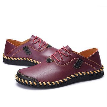 Large Size Men Hand Stitching Genuine Leather Lace Up Casual Oxfords - US$41.72