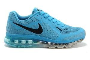 Uitverkoop Nike Air Max 2014 Hardloopschoenen Dames Blauw Zwart Helder Goedkoop