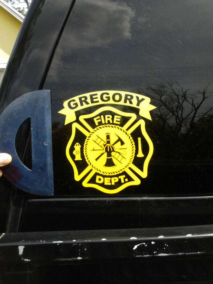 Maltese cross fire department name decals