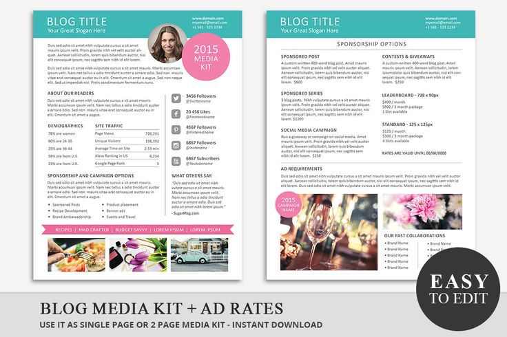 Blog Media Kit Template and Ad Rate Sheet