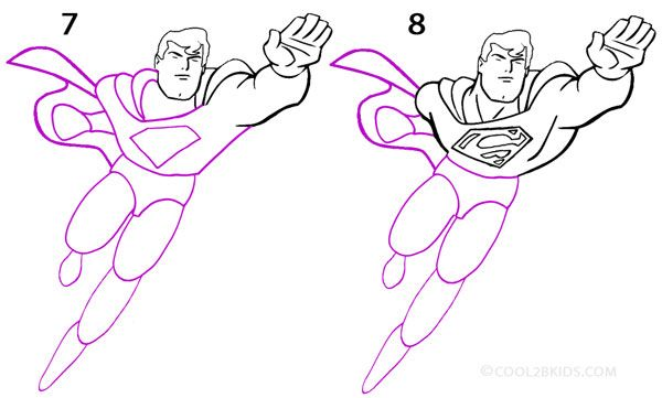 How To Draw Superman Step 4 Superman Drawing Superman Coloring Pages Drawings