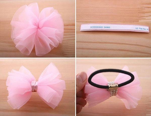 DIY Hair Accessories: DIY Make pink hair ties with bow