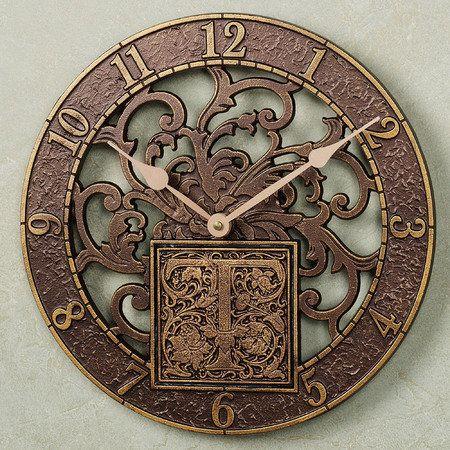 Monogram Wall Clock Antique Copper