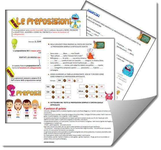 Schede didattiche sulle preposizioni semplici ed articolate con regole, schemi ed esercizi. Classe terza, quarta e quinta scuola primaria.