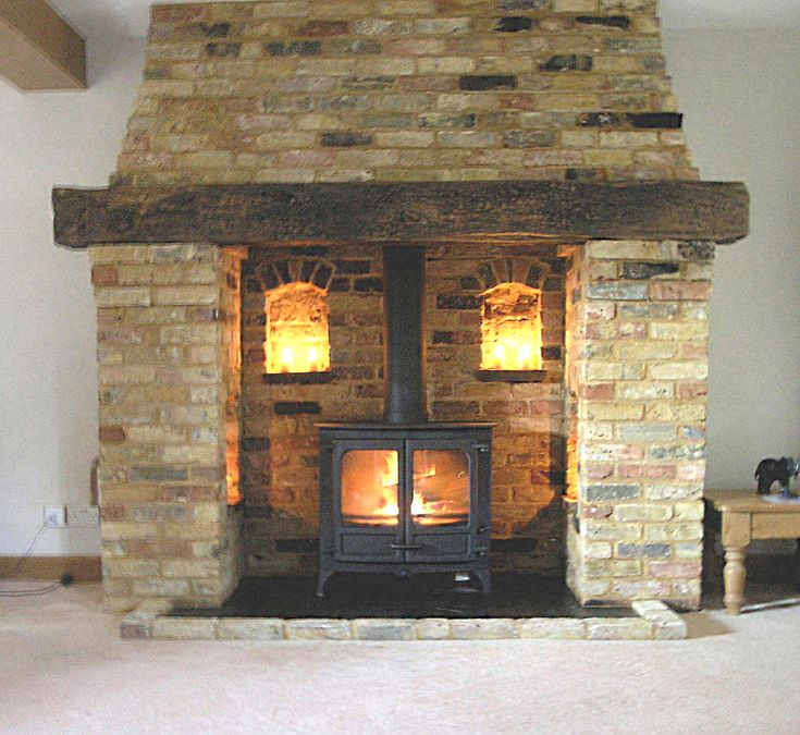 Bespoke Reclaimed Brick And Oak Inglenook Fireplace With A Charnwood Island 3 Multi Fuel Stove Fitted