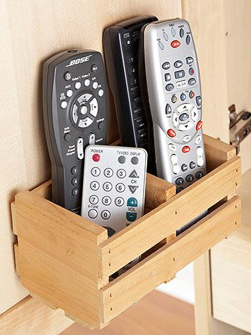 Handy Remote Control Storage  Avoid having to search for remote controls under couch cushions by making a little wooden crate to keep them close at hand. Fasten the crate to the side of a table near your couch for easy reach.