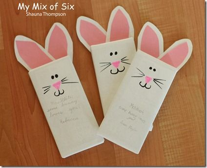 Cute little Easter gift. Candy bar wrapped in copy paper and made into bunny.