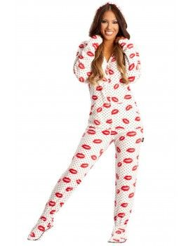 7e99940ea41 Sexy Lips Adult Footed onesie Pajamas