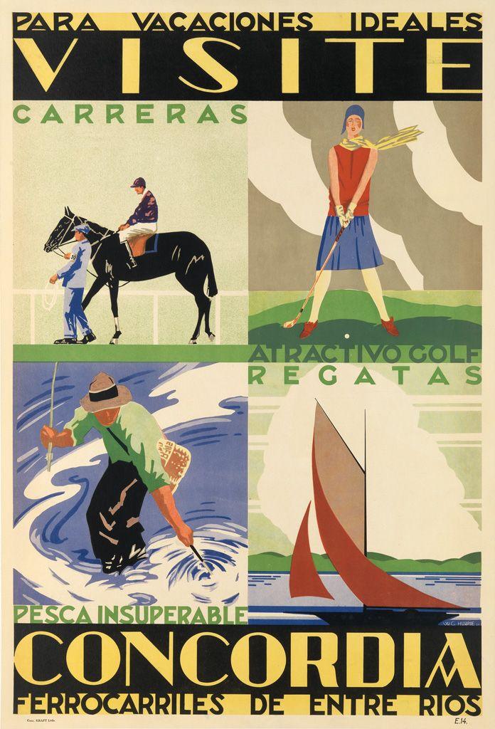 Argentina W.G. HURRIE (DATES UNKNOWN) VISITE CONCORDIA / PARA VACACIONES IDEALES. 1930.