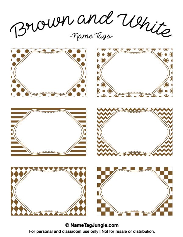 Free printable brown and white name tags with chevrons, polka dots, and other patterns. The template can also be used for creating items like labels and place cards. Download the PDF at http://nametagjungle.com/name-tag/brown-and-white/