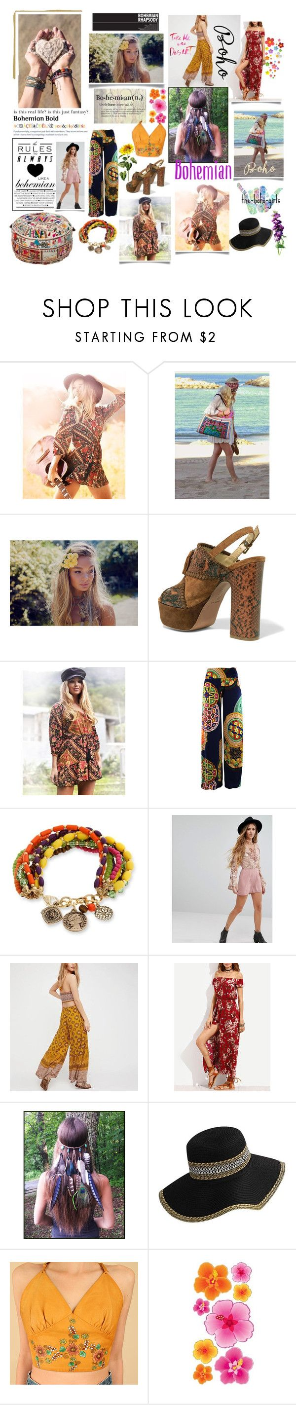 """Bohemian is my lifestyle 💜💐"" by lawvel ❤ liked on Polyvore featuring Ash, Erica Lyons, Young Bohemians and WithChic"