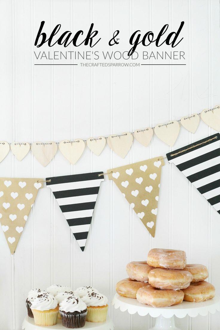 Black & Gold Valentine's Wood Banner