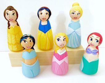 Disney Princess Wood Peg Doll Set of 3
