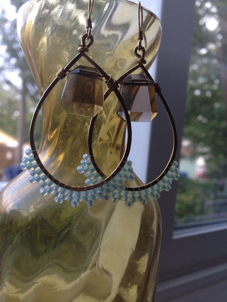 Smoky Quartz, hammered brass, and glowing opalescent seed beads