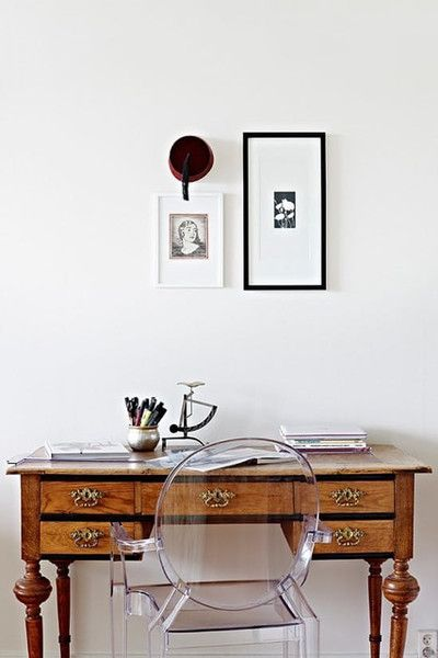 Beautiful Bureau Who would have thought that a lucite chair would work so well with an antique writing desk?