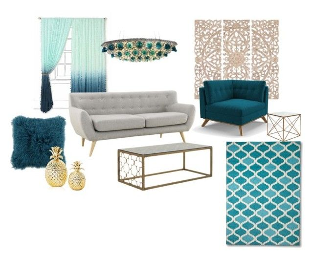 """Drawing Room"" by shivika-ahuja on Polyvore featuring interior, interiors, interior design, home, home decor, interior decorating, Home Decorators Collection, Joybird Furniture, Two's Company and modern"