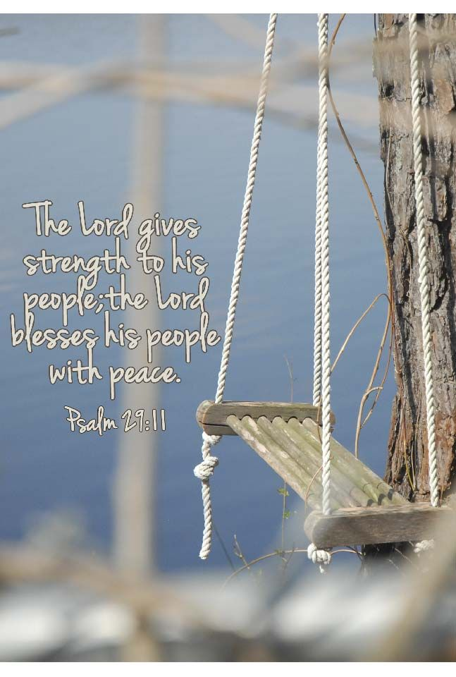 The Lord will give strength to His people; The Lord will bless His people with peace. Psams 29:11