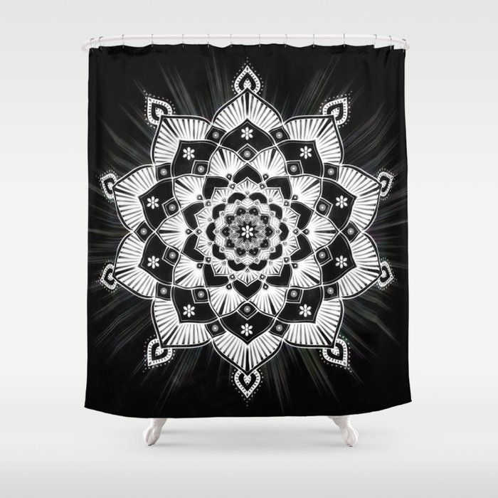 Radiant Glowing Mandala Black White Shower Curtain By