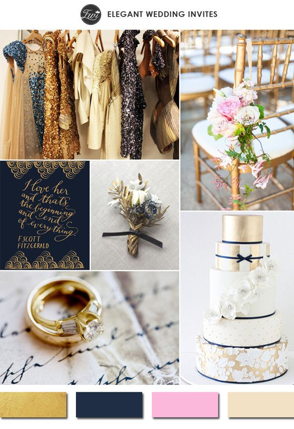 sparkling gold navy blue and pink vintage wedding color ideas 2015 trends #elegantweddinginvites