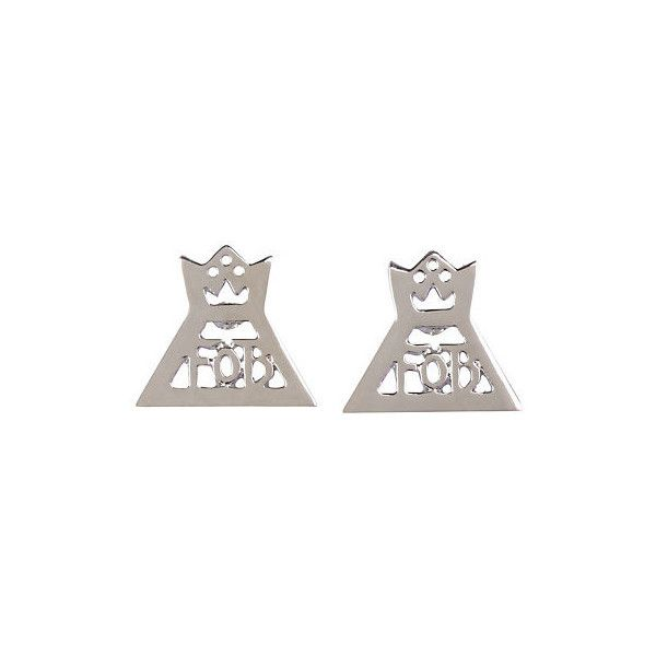 Fall Out Boy Single Crown Earrings Hot Topic (6.92 SGD) ❤ liked on Polyvore featuring jewelry, earrings, metal crown, metal earrings, metal jewelry, crown jewelry and crown earrings