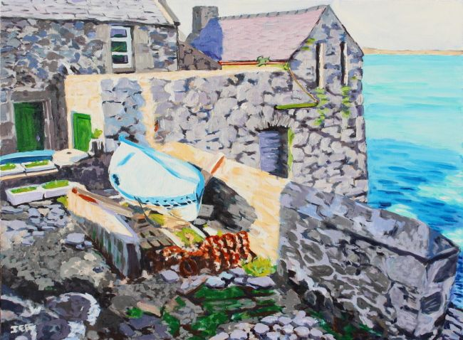 Lodberry Acrylic on canvas 30x40 inches January 2015  This depicts a Lodberry in Lerwick harbour. Lodberries were constructed later 18th century and early 19th century. Lodberries were houses and warehouses sitting on their own piers so that goods could be loaded and unloaded directly from the boats.