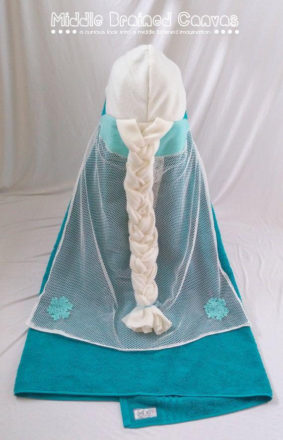 Queen Elsa Frozen Hooded Bath Towel by MiddleBrainedCanvas on Etsy