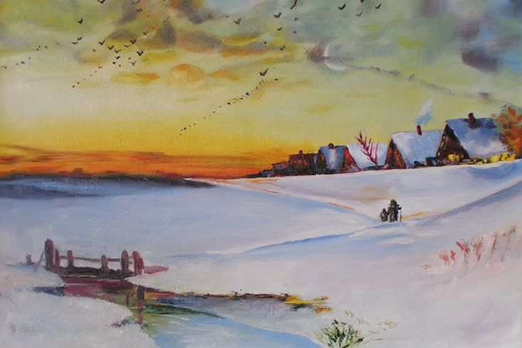 Copy from Savrasov's art. Winter landscape. by methosw.deviantart.com on @DeviantArt