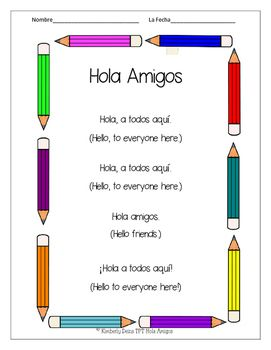 """We sing this song each day as we enter class! It is our """"warm up"""" to segue into Spanish instruction. After we sing, we take attendance in Spanish and have short conversations about who is absent, what students are wearing, and fun activities they have done in class or over the weekend. ¡Me gusta español! ♥Song ♥Cut and paste cloze reading/vocabulary building sheet ♥Cross out and write cloze student printable♥Cut, order, illustrate and create book for students♥  #docentes #maestras…"""