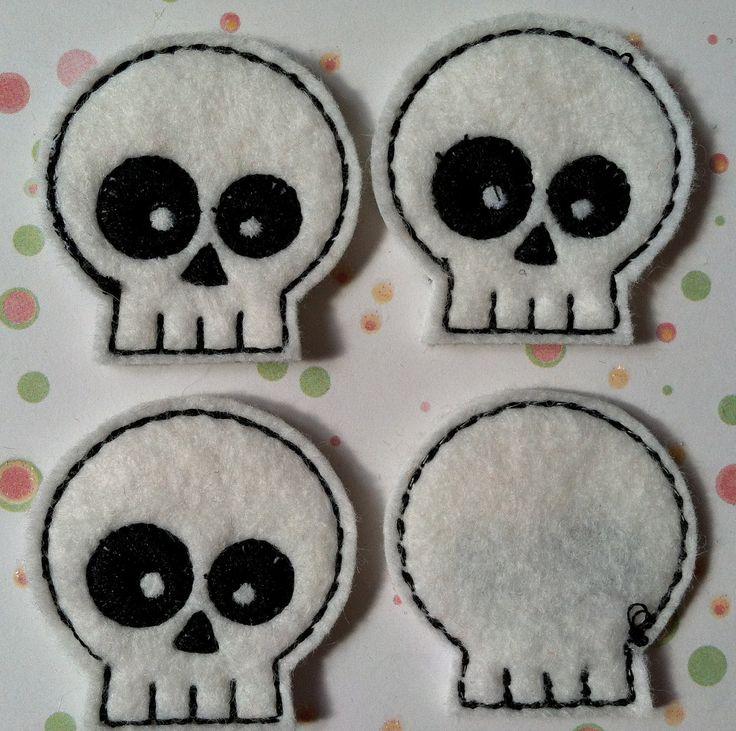 White and Black Skull Felties, Hair Bow Centers, Scrapbooking, Felt Applique, Great for Halloween. $3.20, via Etsy.