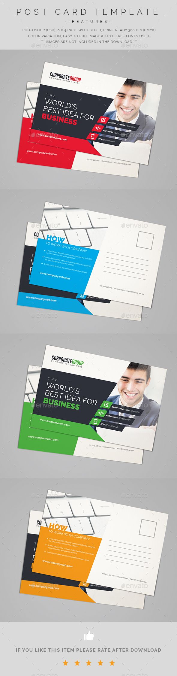 Corporate Postcard  — PSD Template #postal cards #postcard • Download ➝ https://graphicriver.net/item/corporate-postcard/18433269?ref=pxcr
