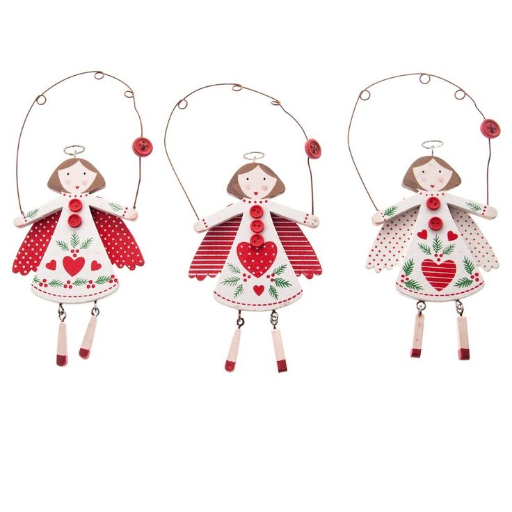 gisela graham christmas set of 3 nordic wooden angel christmas decorations - Angel Decorations