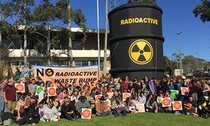 Aboriginal elders and Flinders University students protest against South Australia's proposal for a high-level nuclear waste dump