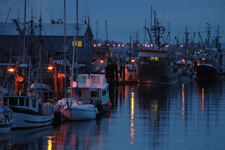 I love to go to the fishing pier and harbour at night in Campbell River.