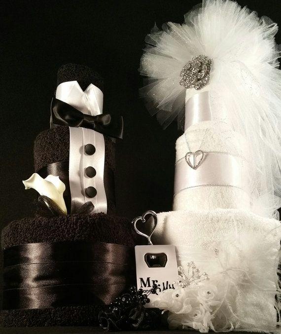3 Tier Black & White Bride and Groom TOWEL CAKE w/ silver