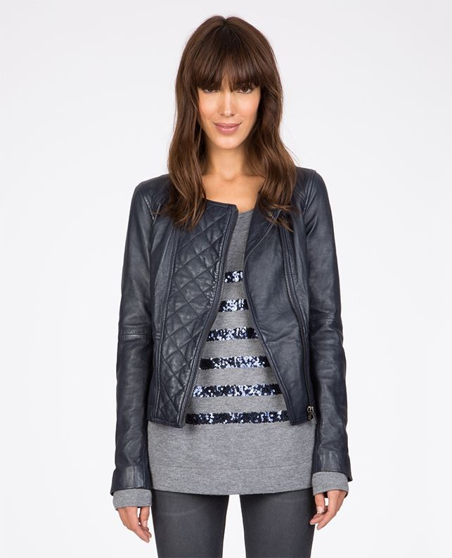Leather biker jacket   Coats and jackets   Comptoir des Cotonniers