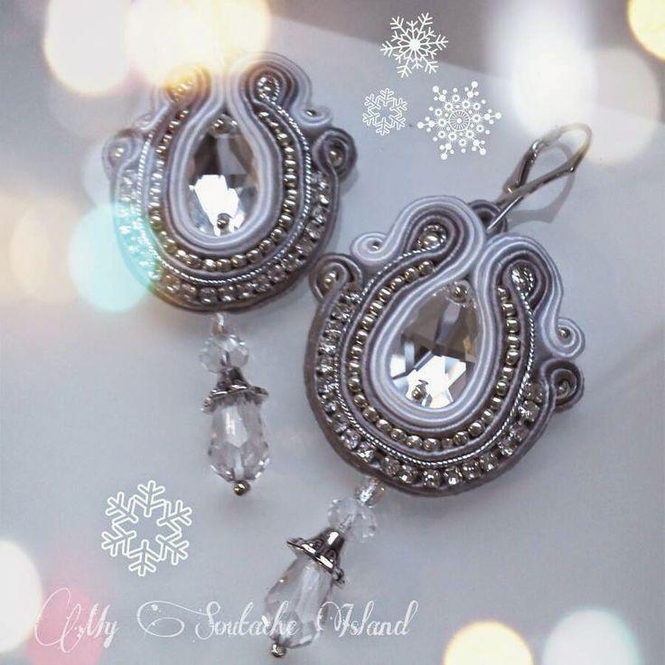 Crystal soutache earrings, white grey silver Swarovski Crystal